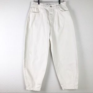 Zara Slouchy Jeans With Pleats 100% Cotton Size 12